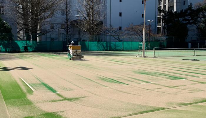 テニスコート人工芝張替工事